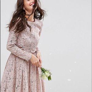 ASOS Lace Long Sleeve Midi Dress